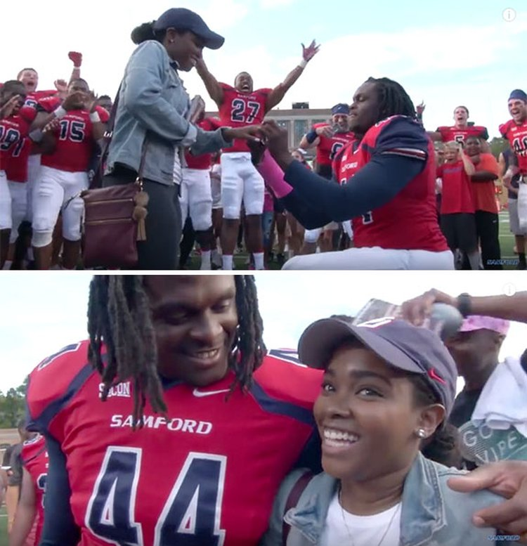 Football Squad Pitches In to Make Postgame Proposal Unforgettable for This Samford University Couple